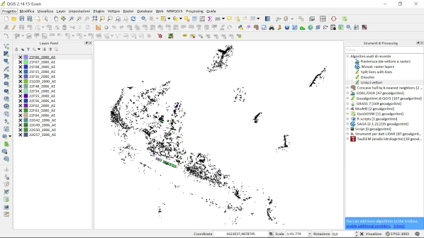 QGIS: importare e unire decine di shapefile in un database